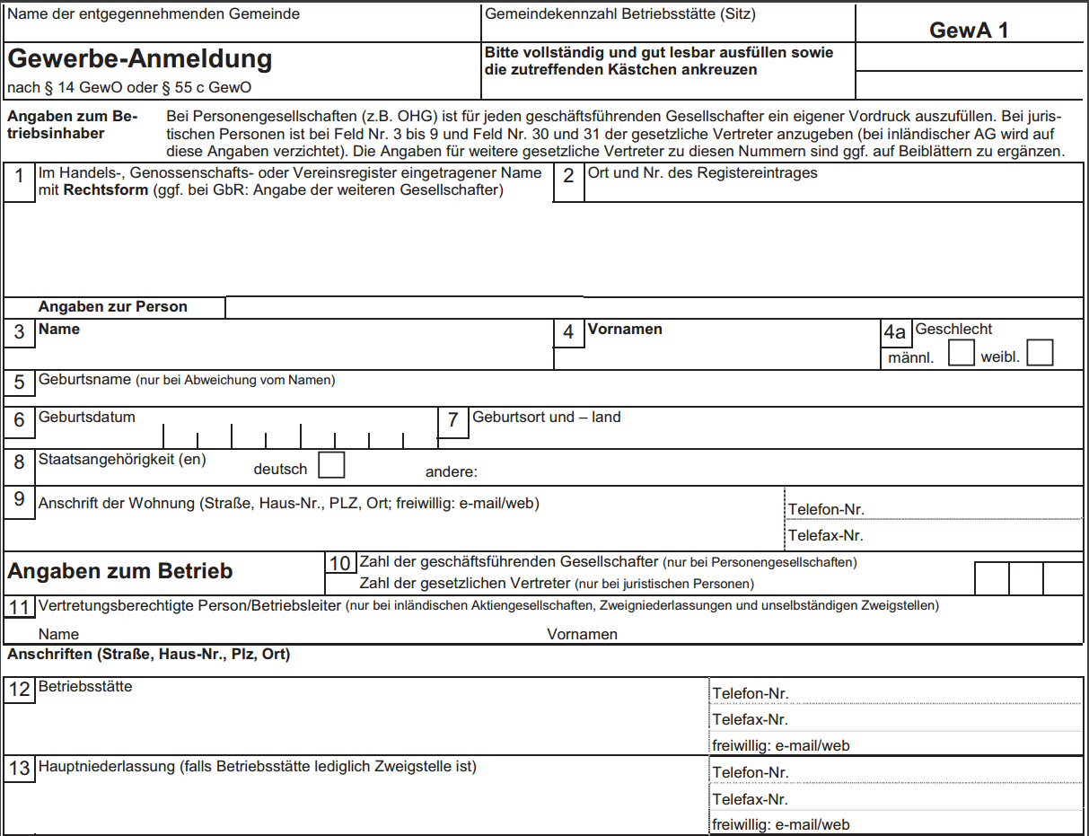 Gewerbeanmeldung Notwendige Unterlagen Ausfullhilfe 15