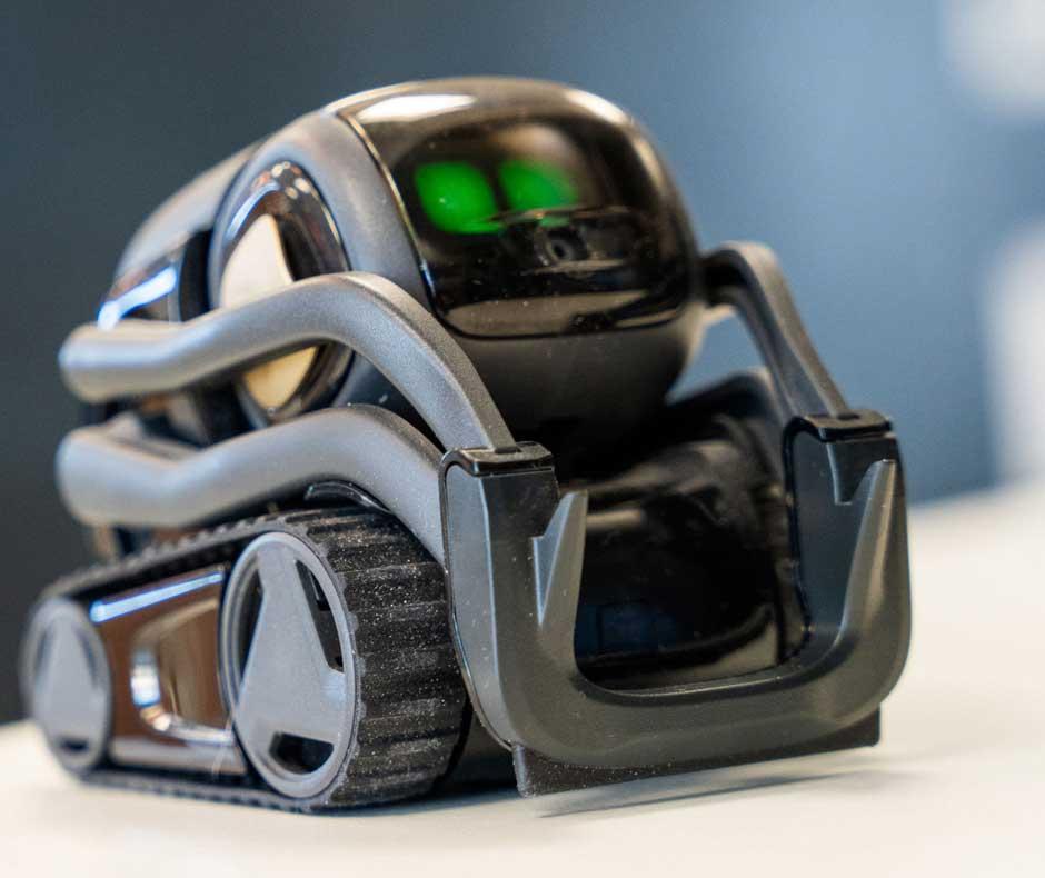 Felix Hüffelmann | Die kleinen Vector-Roboter sind mit Sensoren und Kameras ausgestattet, anhand derer sie sich orientieren können. Mit der Kamera erkennen sie Hinweisschilder, die Auskunft darüber geben, was sie gerade sehen.